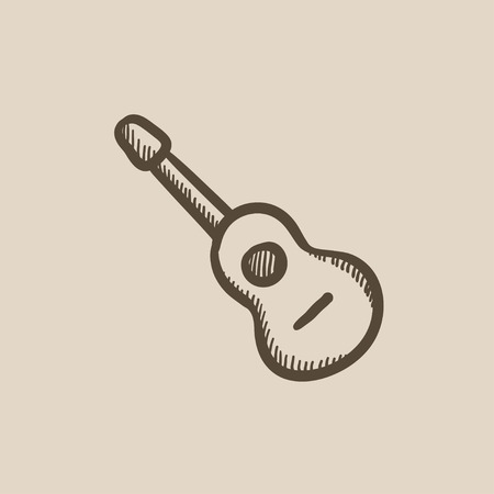 strum: Acoustic guitar vector sketch icon isolated on background. Hand drawn Acoustic guitar icon. Acoustic guitar sketch icon for infographic, website or app. Illustration