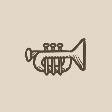 orchestral: Trumpet vector sketch icon isolated on background. Hand drawn Trumpet icon. Trumpet sketch icon for infographic, website or app.
