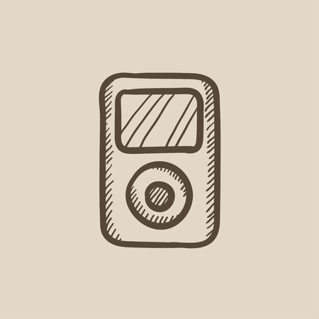 mp3 player: MP3 player vector sketch icon isolated on background. Hand drawn MP3 player icon. MP3 player sketch icon for infographic, website or app.