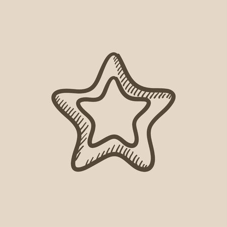rating: Rating star vector sketch icon isolated on background. Hand drawn Rating star icon. Rating star sketch icon for infographic, website or app. Illustration