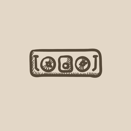 soundtrack: DJ console vector sketch icon isolated on background. Hand drawn DJ console icon. DJ console sketch icon for infographic, website or app. Illustration