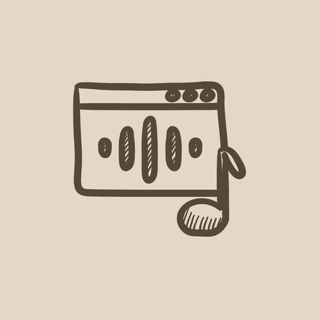 Radio vector sketch icon isolated on background. Hand drawn Radio icon. Radio sketch icon for infographic, website or app.