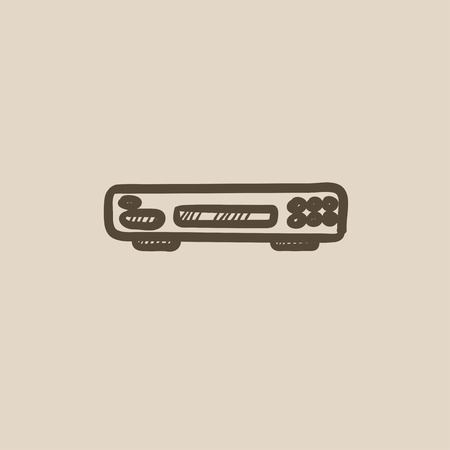videocassette: Video recorder vector sketch icon isolated on background. Hand drawn Video recorder icon. Video recorder sketch icon for infographic, website or app.