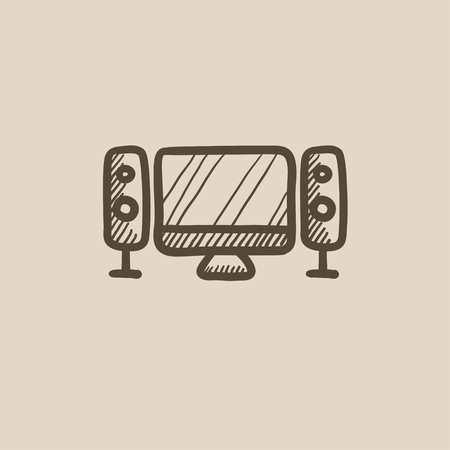 lcd display: Home cinema system vector sketch icon isolated on background. Hand drawn  Home cinema system icon.  Home cinema system sketch icon for infographic, website or app.