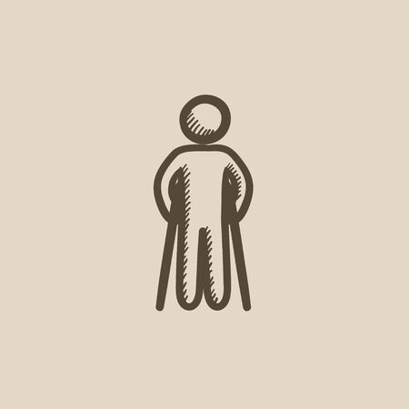 hobble: Man with crutches vector sketch icon isolated on background. Hand drawn Man with crutches icon. Man with crutches sketch icon for infographic, website or app.