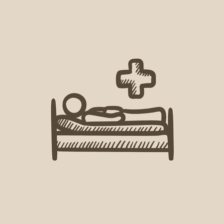 bedridden: Patient lying on bed vector sketch icon isolated on background. Hand drawn Patient lying on bed icon. Patient lying on bed sketch icon for infographic, website or app.