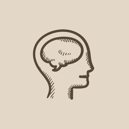 neurosurgery: Human head with brain vector sketch icon isolated on background. Hand drawn Human head with brain icon. Human head with brain sketch icon for infographic, website or app.