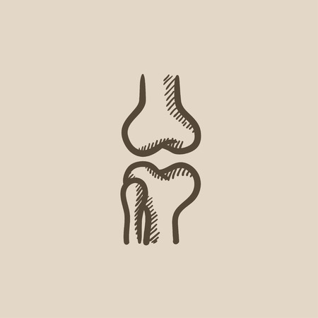 bursa: Knee joint vector sketch icon isolated on background. Hand drawn Knee joint icon. Knee joint sketch icon for infographic, website or app.