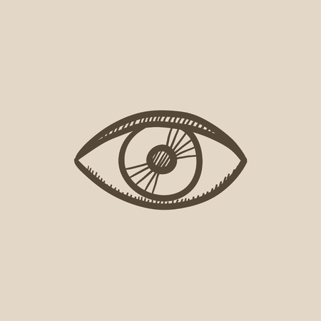 shortsighted: Eye vector sketch icon isolated on background. Hand drawn Eye icon. Eye sketch icon for infographic, website or app.