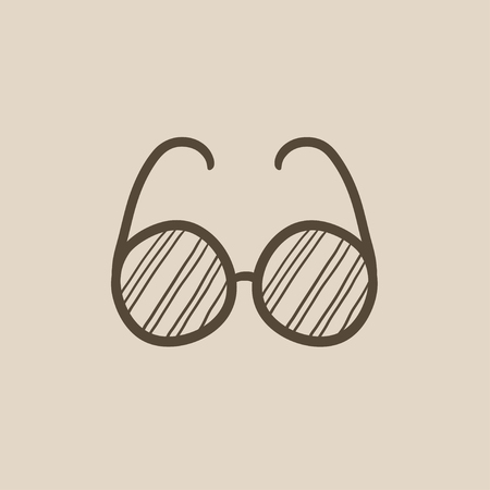 shortsighted: Eyeglasses vector sketch icon isolated on background. Hand drawn Eyeglasses icon. Eyeglasses sketch icon for infographic, website or app.