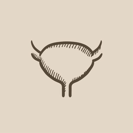 Urinary bladder vector sketch icon isolated on background. Hand drawn Urinary bladder icon. Urinary bladder sketch icon for infographic, website or app. Illustration