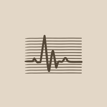 cardiograph: Heart beat cardiogram vector sketch icon isolated on background. Hand drawn Heart beat cardiogram icon. Heart beat cardiogram sketch icon for infographic, website or app. Illustration
