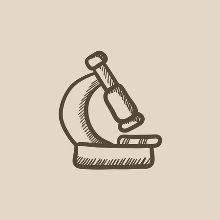enlargement: Microscope vector sketch icon isolated on background. Hand drawn Microscope icon. Microscope sketch icon for infographic, website or app.