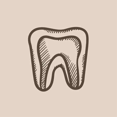 molar: Molar tooth vector sketch icon isolated on background. Hand drawn Molar tooth icon. Molar tooth sketch icon for infographic, website or app.