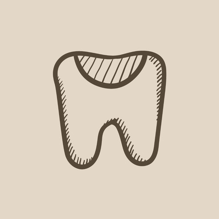 decay: Tooth decay vector sketch icon isolated on background. Hand drawn Tooth decay icon. Tooth decay sketch icon for infographic, website or app. Illustration