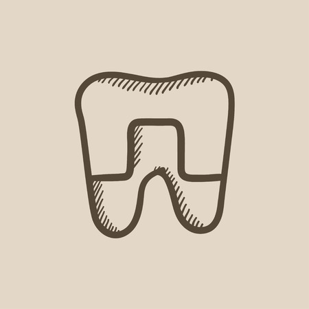 crowned: Crowned tooth vector sketch icon isolated on background. Hand drawn Crowned tooth icon. Crowned tooth sketch icon for infographic, website or app. Illustration