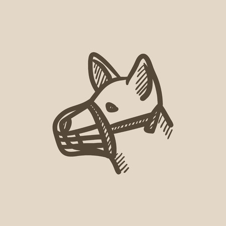restraining: Dog with muzzle vector sketch icon isolated on background. Hand drawn Dog with muzzle icon. Dog with muzzle sketch icon for infographic, website or app.