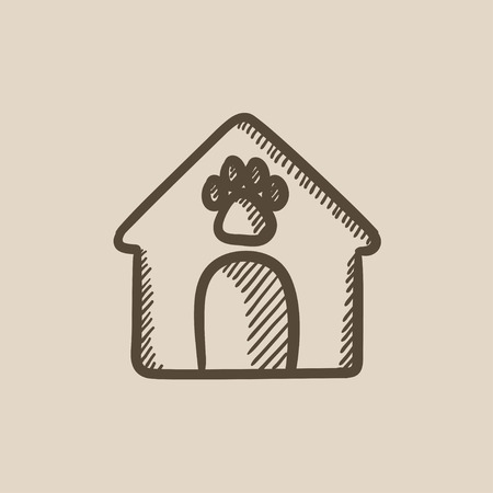 doghouse: Doghouse vector sketch icon isolated on background. Hand drawn Doghouse icon. Doghouse sketch icon for infographic, website or app.