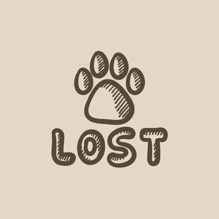 Lost dog sign vector sketch icon isolated on background. Hand drawn Lost dog sign icon. Lost dog sign sketch icon for infographic, website or app.