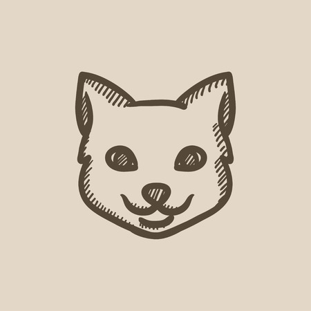 Cat head vector sketch icon isolated on background. Hand drawn Cat head icon. Cat head sketch icon for infographic, website or app. Illustration