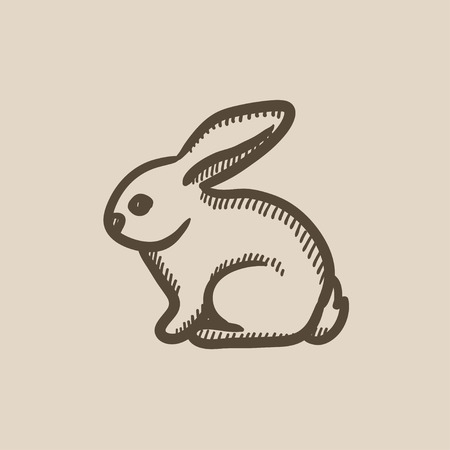 fleecy: Rabbit vector sketch icon isolated on background. Hand drawn Rabbit icon. Rabbit sketch icon for infographic, website or app.