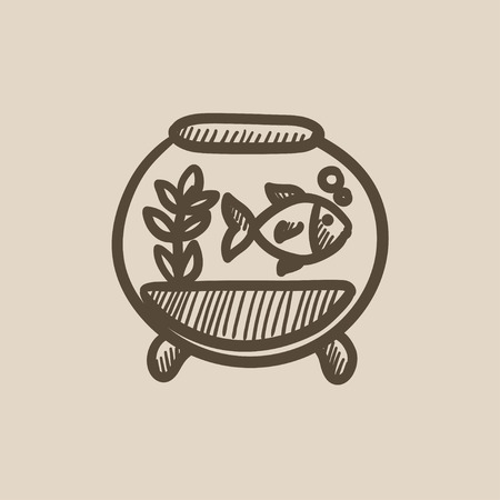 vesicle: Fish in aquarium vector sketch icon isolated on background. Hand drawn Fish in aquarium icon. Fish in aquarium sketch icon for infographic, website or app.