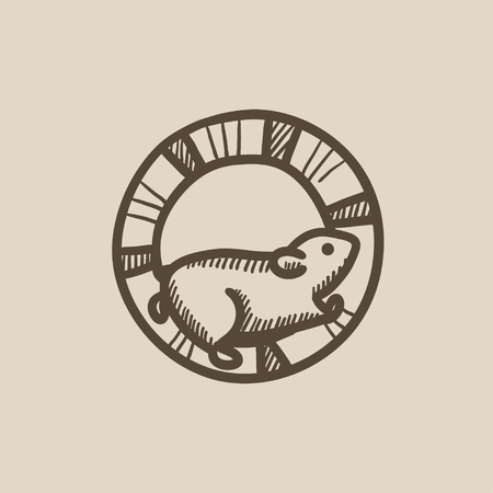 mouse trap: Hamster running in the wheel vector sketch icon isolated on background. Hand drawn Hamster running in the wheel icon. Hamster running in the wheel sketch icon for infographic, website or app.