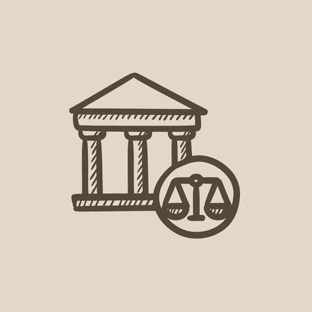 weigher: Court vector sketch icon isolated on background. Hand drawn Court icon. Court sketch icon for infographic, website or app. Illustration