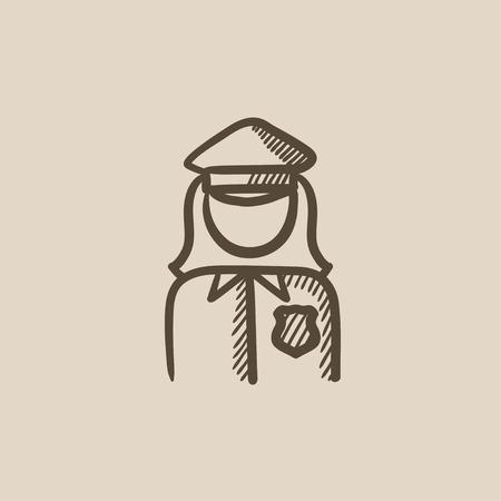 femme policier: Policewoman icône vecteur d'esquisse isolé sur fond. Hand drawn Policewoman icône. Policewoman icône esquisse pour infographie, site Web ou application. Illustration