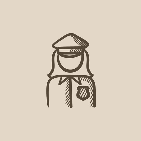policewoman: Policewoman vector sketch icon isolated on background. Hand drawn Policewoman icon. Policewoman sketch icon for infographic, website or app. Illustration