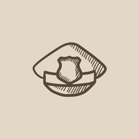 patrolman: Policeman hat with badge vector sketch icon isolated on background. Hand drawn Policeman hat with badge icon. Policeman hat with badge sketch icon for infographic, website or app.