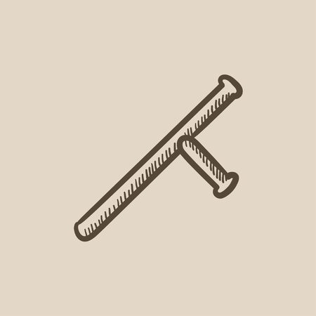 nightstick: Baton vector sketch icon isolated on background. Hand drawn Baton icon. Baton sketch icon for infographic, website or app.