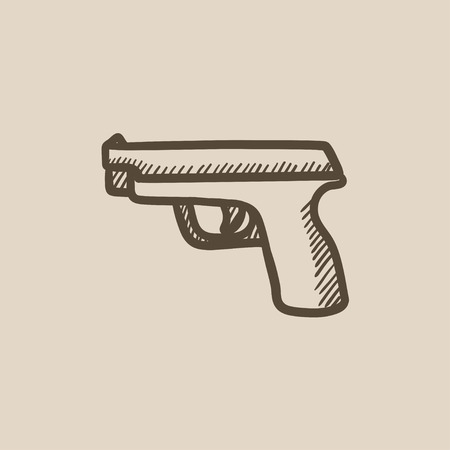 Handgun vector sketch icon isolated on background. Hand drawn Handgun icon. Handgun sketch icon for infographic, website or app. Illustration