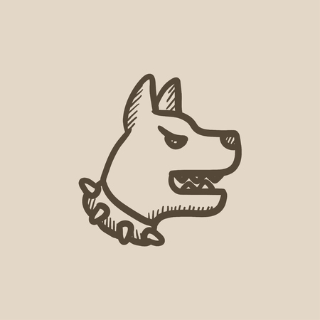 barking: Aggressive police dog vector sketch icon isolated on background. Hand drawn Aggressive police dog icon. Aggressive police dog sketch icon for infographic, website or app. Illustration