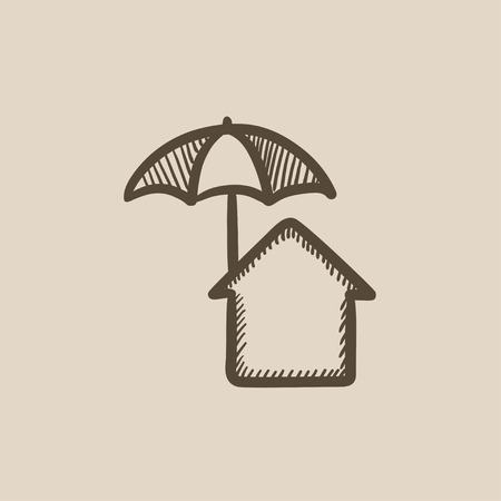 House under umbrella vector sketch icon isolated on background. Hand drawn House under umbrella icon. House under umbrella sketch icon for infographic, website or app. Çizim