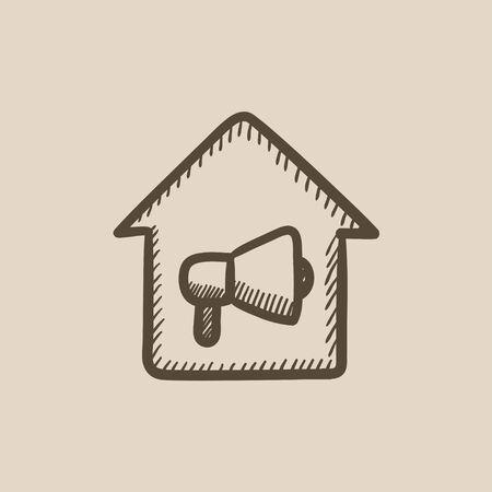 incendio casa: Casa alarma de incendio dibujo icono del vector aislado en el fondo. Dibujado a mano icono de la casa de alarma contra incendios. Casa dibujo icono de alarma contra incendios de infograf�a, sitio web o aplicaci�n.
