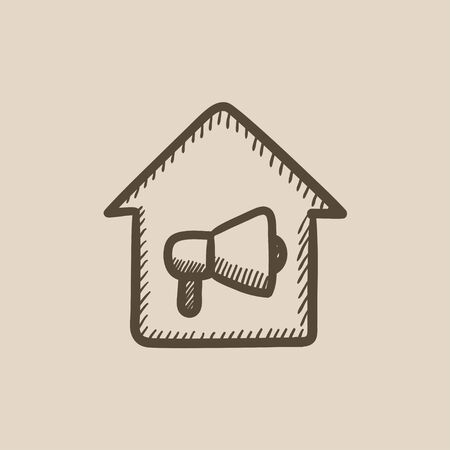 house on fire: House fire alarm vector sketch icon isolated on background. Hand drawn House fire alarm icon. House fire alarm sketch icon for infographic, website or app.