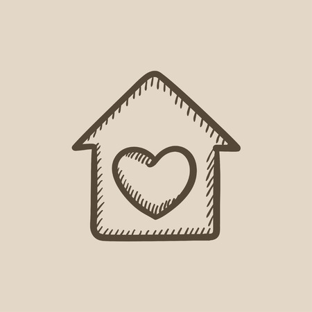 House with heart symbol vector sketch icon isolated on background. Hand drawn House with heart symbol icon. House with heart symbol sketch icon for infographic, website or app. Illustration