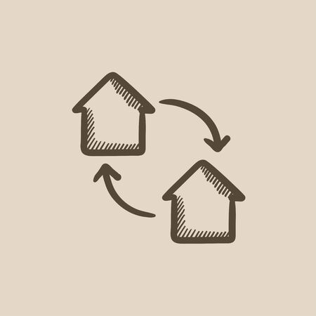 house exchange: House exchange vector sketch icon isolated on background. Hand drawn House exchange icon. House exchange sketch icon for infographic, website or app.