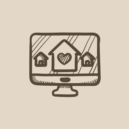 스마트 하우스 기술 벡터 스케치 아이콘 배경에 고립. 손으로 그린 스마트 하우스 기술 아이콘입니다. infographic, 웹 사이트 또는 응용 프로그램에
