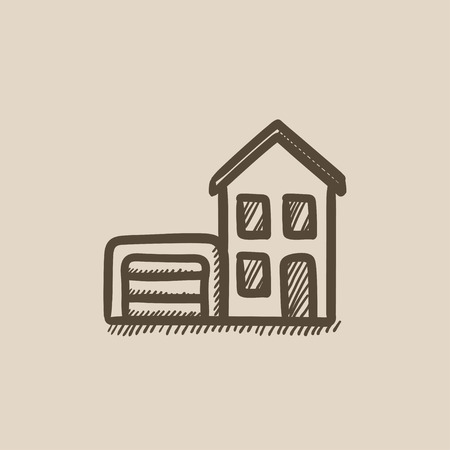 garage on house: House with garage vector sketch icon isolated on background. Hand drawn House with garage icon. House with garage sketch icon for infographic, website or app. Illustration