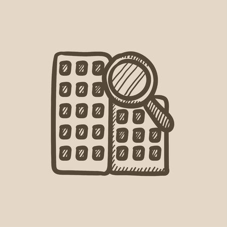 condominium: Condominium and magnifying glass vector sketch icon isolated on background. Hand drawn Condominium and magnifying glass icon. Condominium and magnifier sketch icon for infographic, website or app.