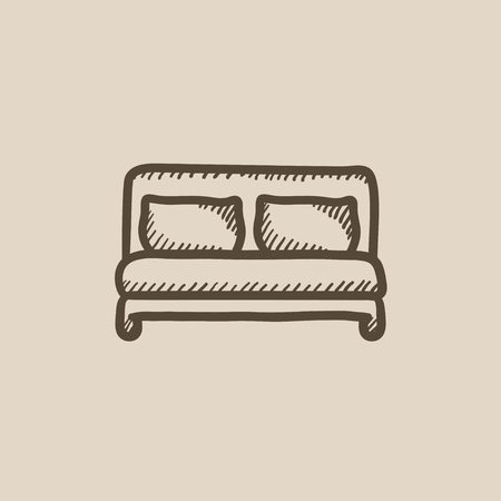 headboard: Double bed vector sketch icon isolated on background. Hand drawn Double bed icon. Double bed sketch icon for infographic, website or app.