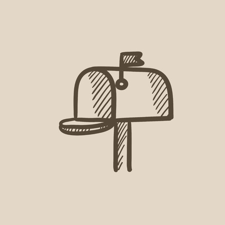 metal mailbox: Mail box vector sketch icon isolated on background. Hand drawn Mail box icon. Mail box sketch icon for infographic, website or app. Illustration