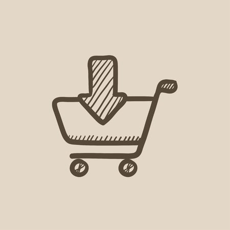 hand cart: Online shopping cart vector sketch icon isolated on background. Hand drawn Online shopping cart icon. Online shopping cart sketch icon for infographic, website or app. Illustration
