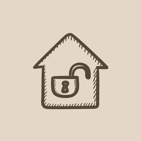 House with open lock vector sketch icon isolated on background. Hand drawn House with open lock icon. House with open lock sketch icon for infographic, website or app. 向量圖像