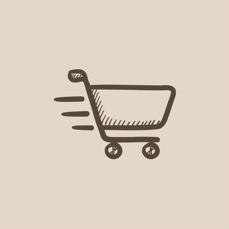 hand cart: Shopping cart vector sketch icon isolated on background. Hand drawn Shopping cart icon. Shopping cart sketch icon for infographic, website or app.