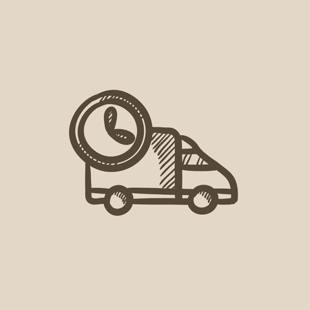 Delivery truck vector sketch icon isolated on background. Hand drawn Delivery truck icon. Delivery truck sketch icon for infographic, website or app. Ilustração