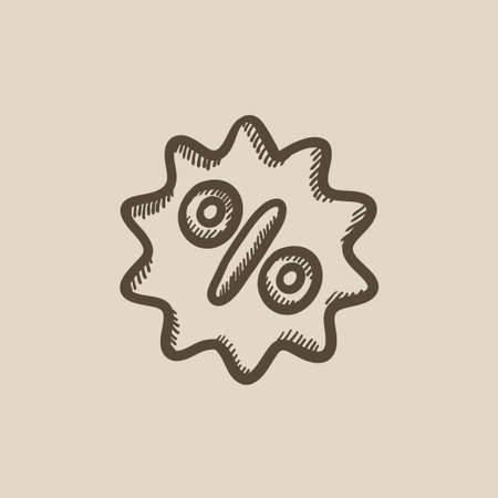 selloff: Discount tag vector sketch icon isolated on background. Hand drawn Discount tag icon. Discount tag sketch icon for infographic, website or app. Illustration