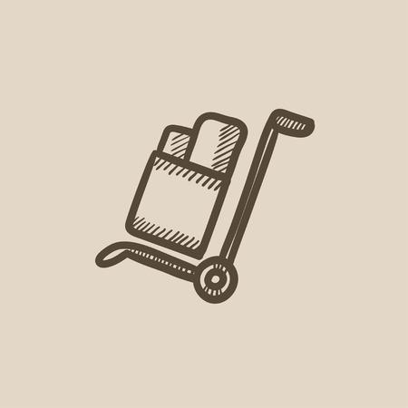 Compras manejo de dibujo icono de carro del vector aislado en el fondo. Dibujado a mano el manejo de icono del carrito de compras. Compras manejo de dibujo icono de carro de infografía, sitio web o aplicación. Foto de archivo - 59310259